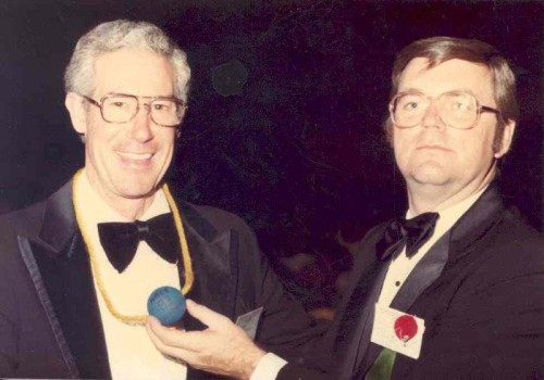 "Walt Poff and Joe Payer, ""Blue Ball Award"", Anaheim, California 1983"